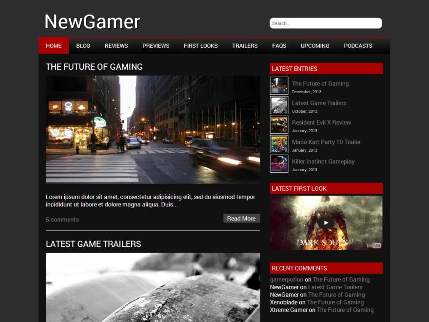 NewGamer WordPress video theme