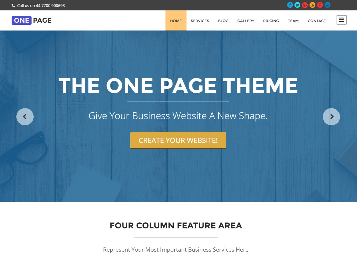 One Page free website theme