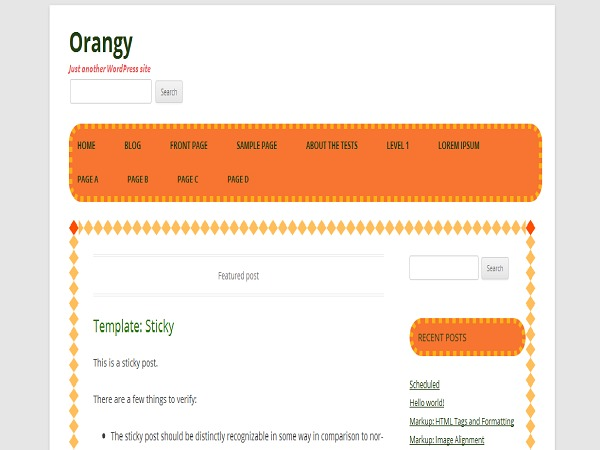 Orangy WordPress page template