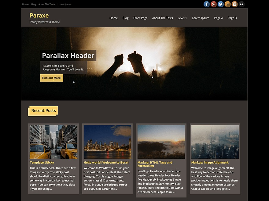 Paraxe WordPress magazine theme