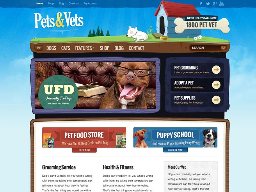 Pets & Vets WordPress shop theme