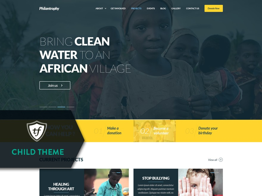 Philanthropy Child WordPress page template