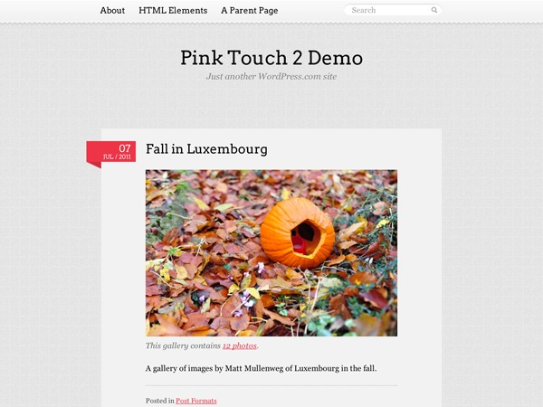 Pink Touch 2 WordPress photo theme