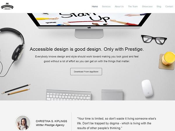 Prestige personal blog WordPress theme