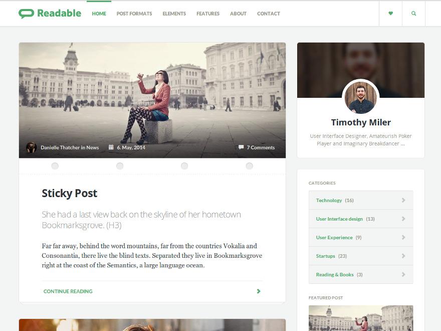 Readable WP Theme WordPress blog theme