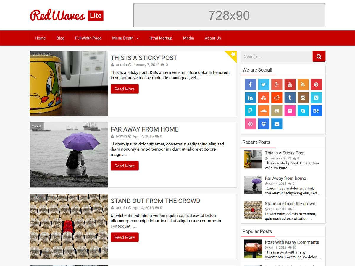 RedWaves Lite WordPress template free