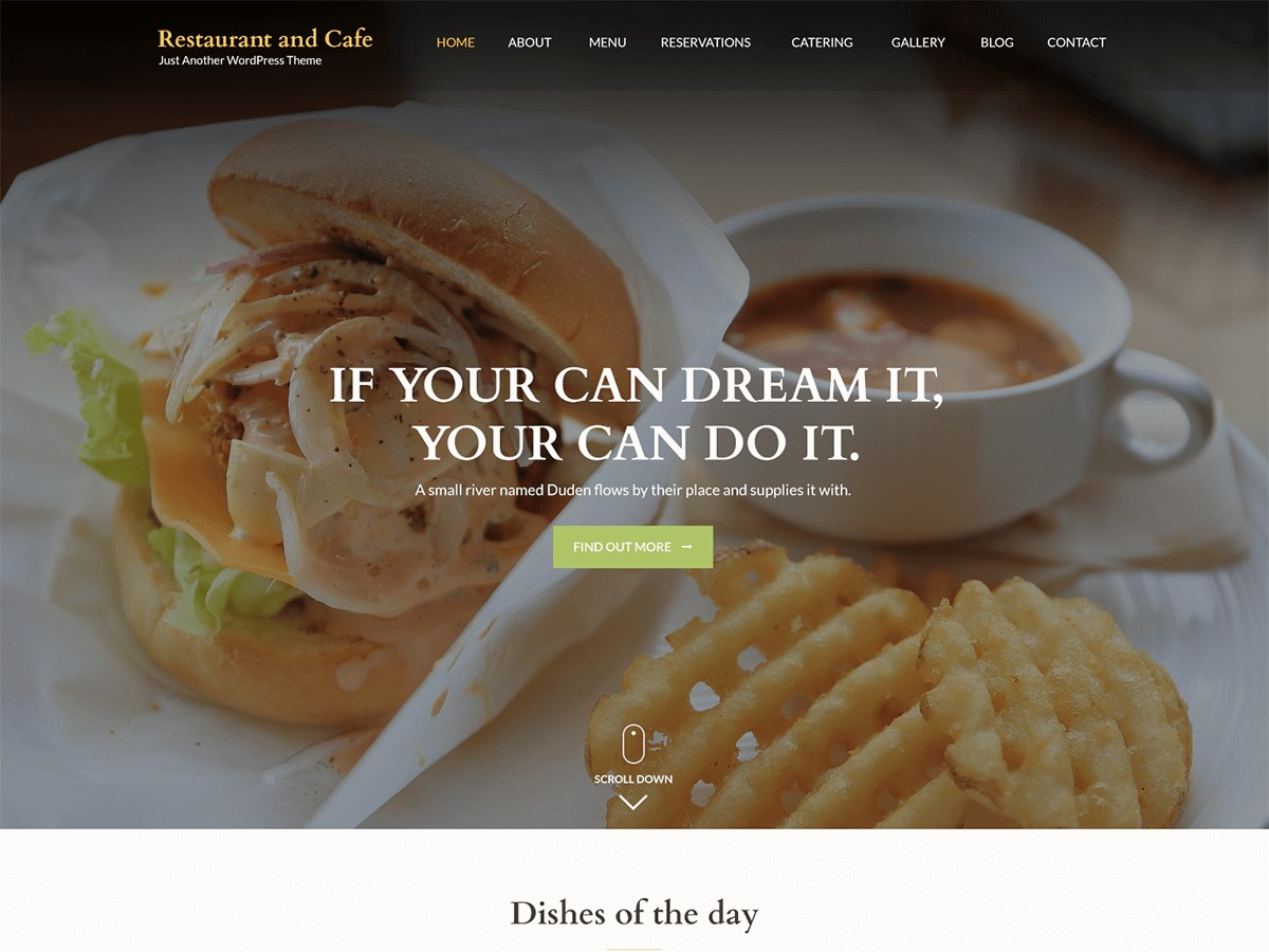Restaurant and Cafe WordPress store theme