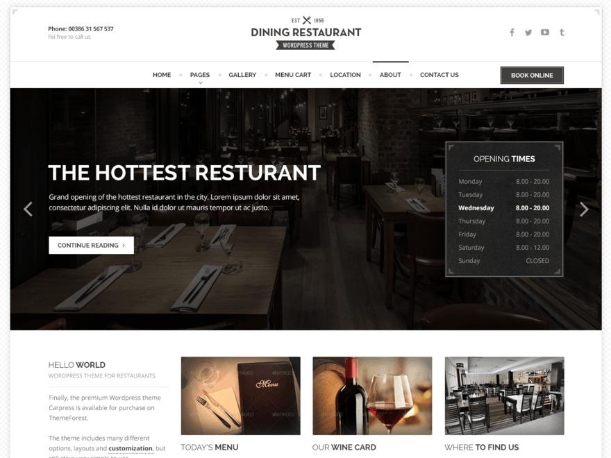 Restaurant WP Theme WordPress restaurant theme
