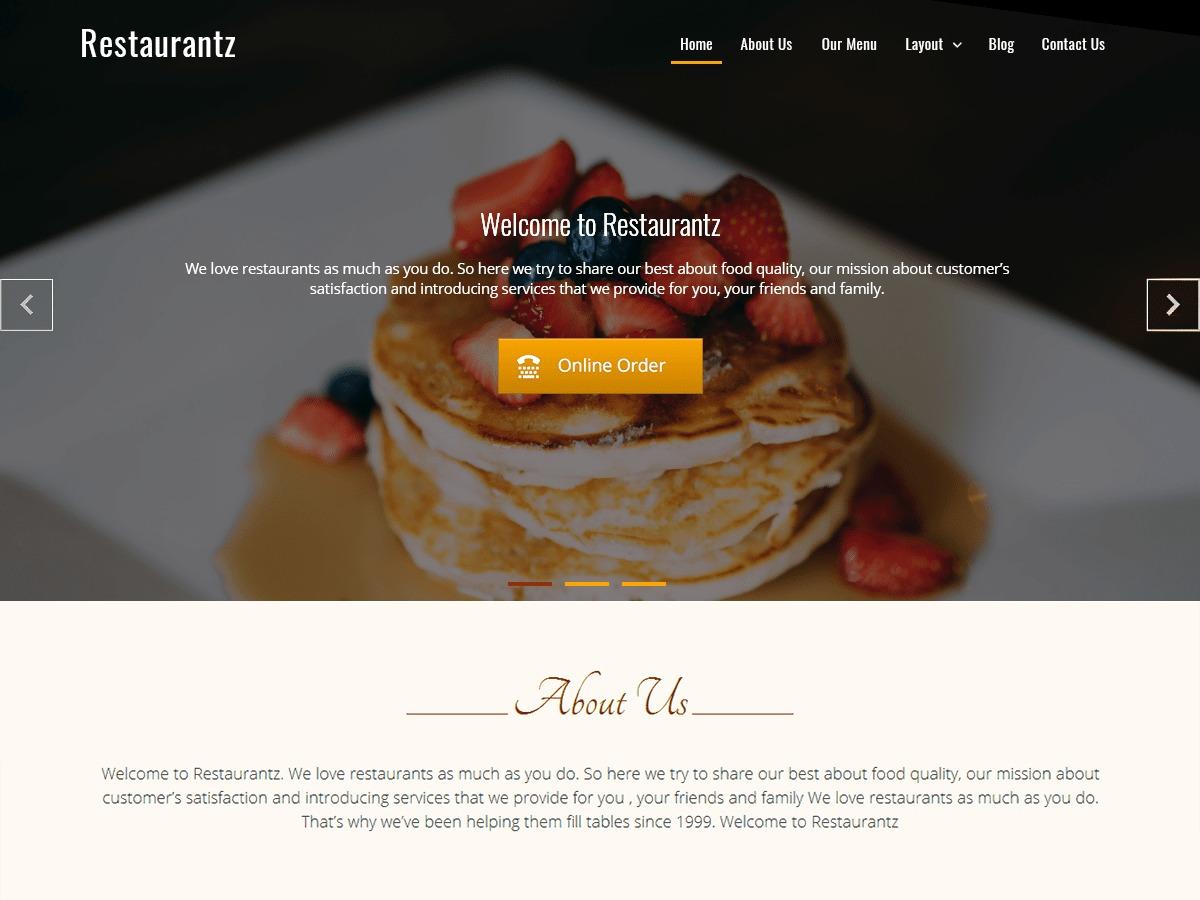Restaurantz best free WordPress theme