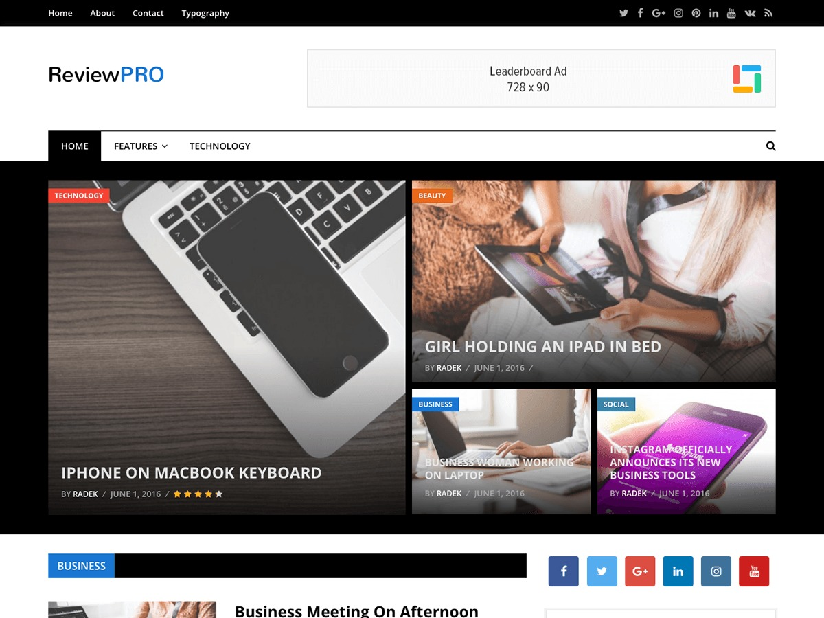 ReviewPro WordPress news template