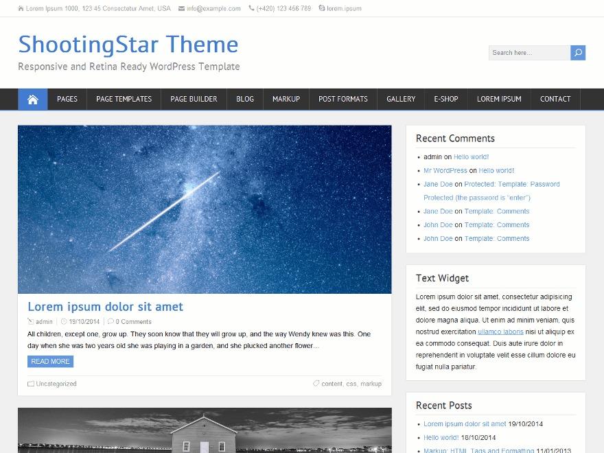 ShootingStar free WordPress theme