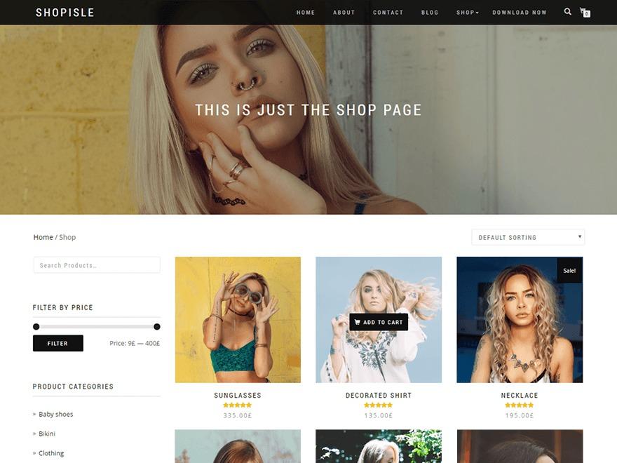 Shop Isle template WordPress free