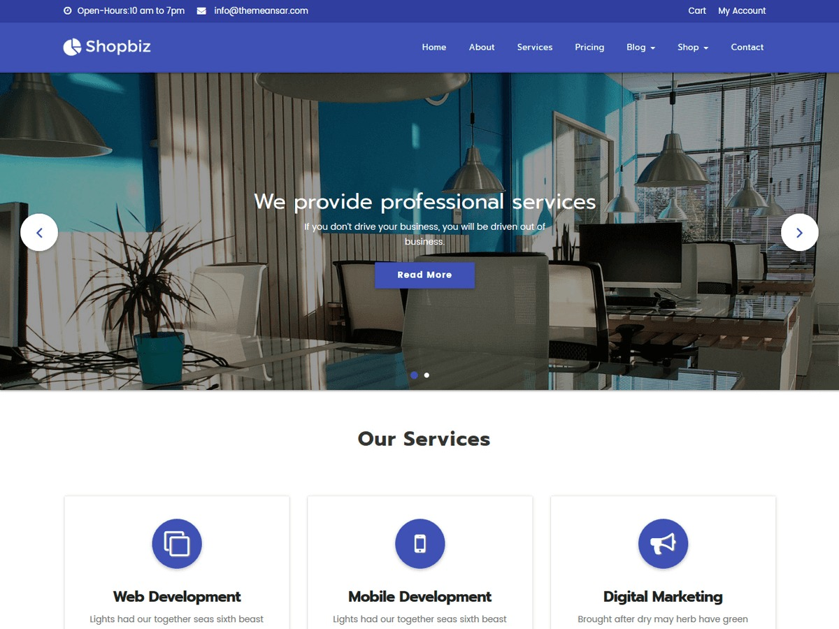 Shopbiz Lite free WordPress theme