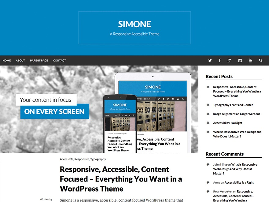 Simone wallpapers WordPress theme