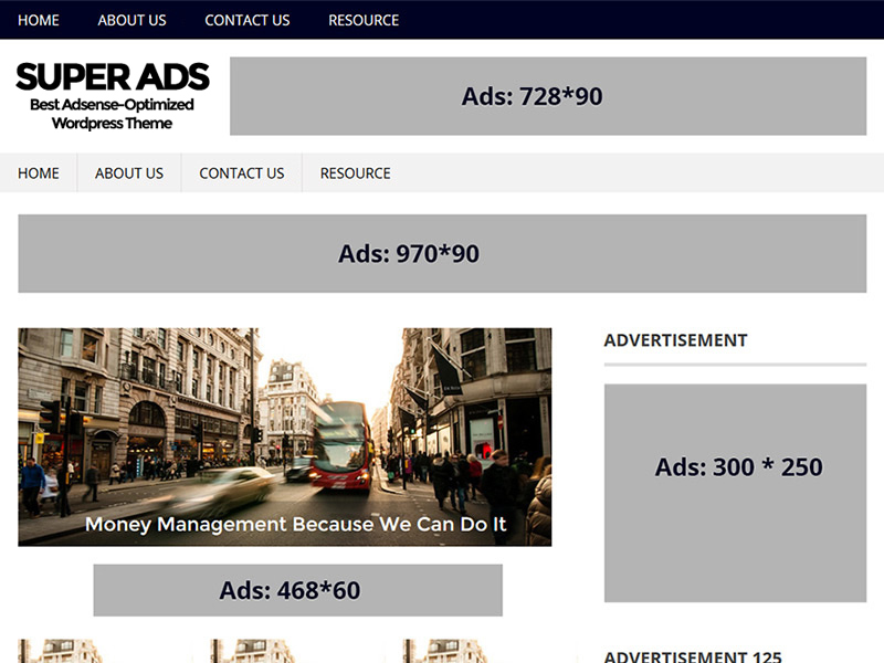 SuperAds Lite free WP theme