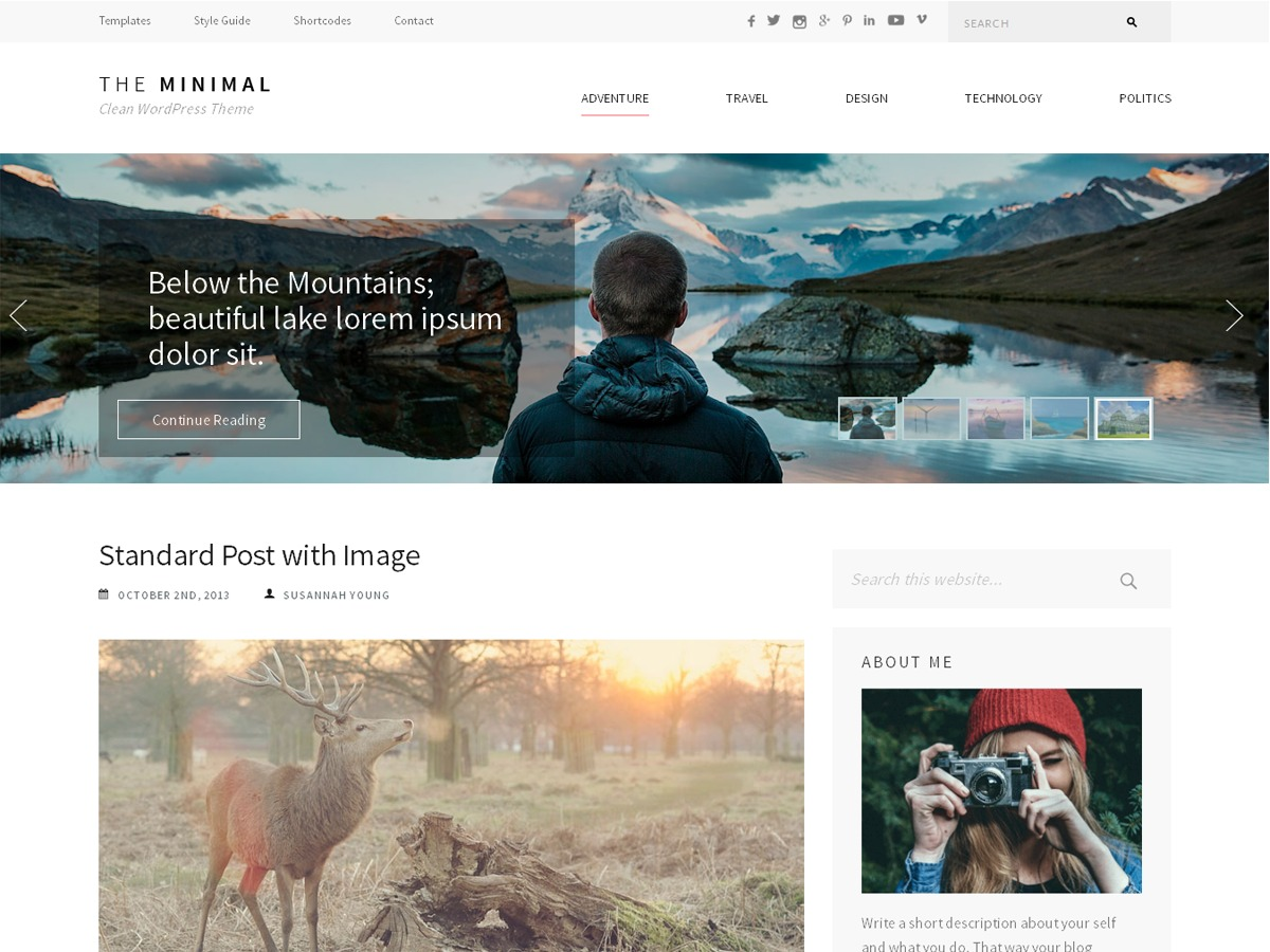 The Minimal Pro WordPress photo theme