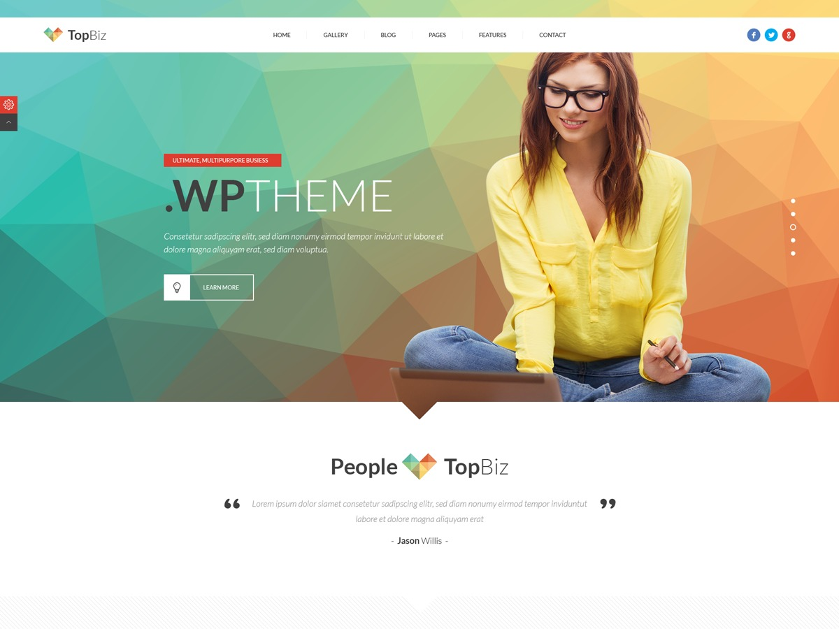 TopBiz theme WordPress portfolio