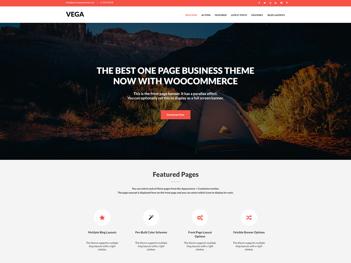 Vega personal blog WordPress theme