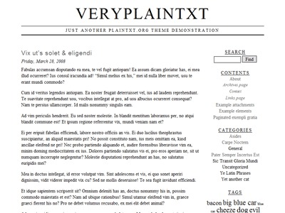 veryplaintxt WordPress page template