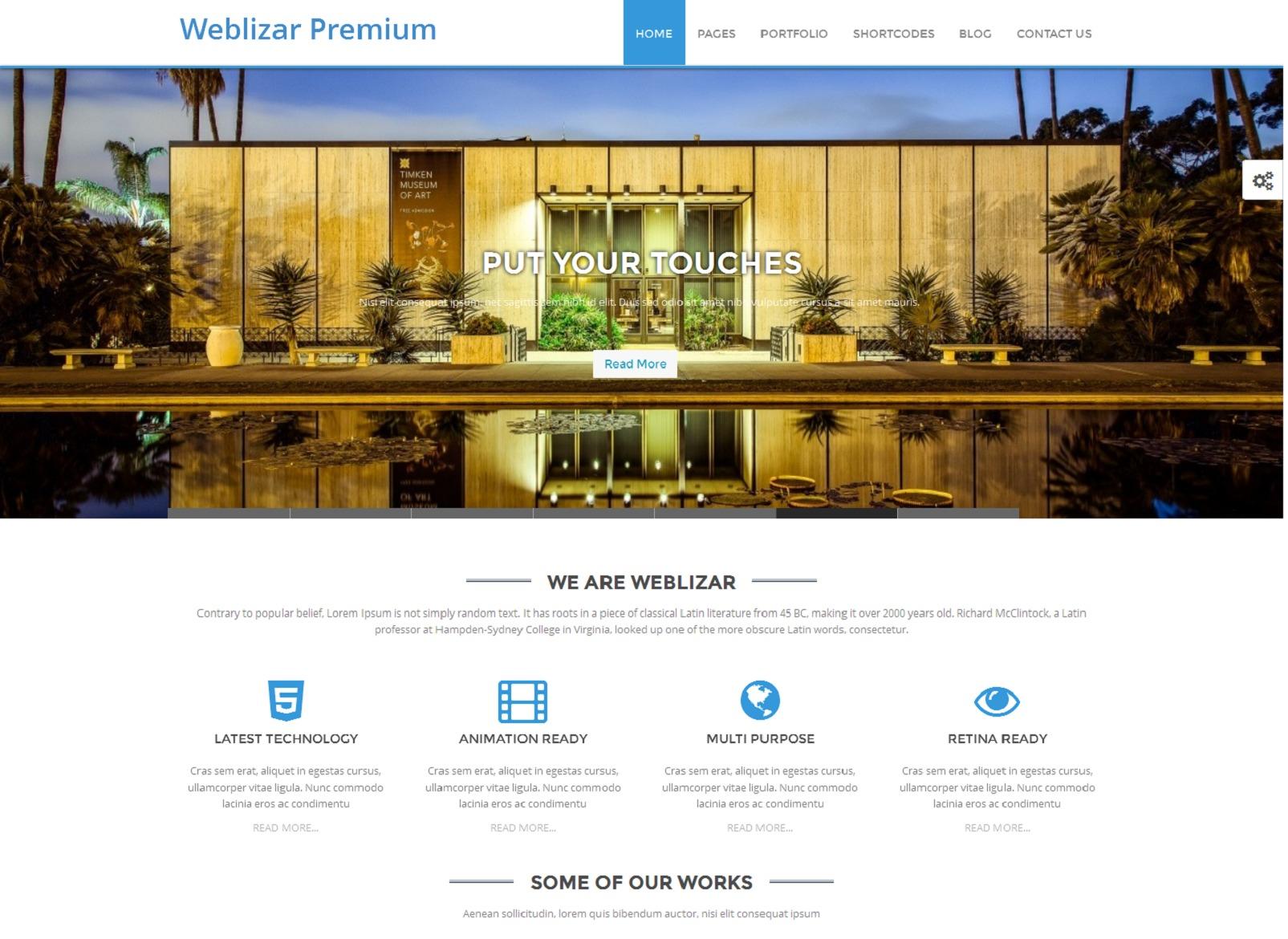 Weblizar Premium company WordPress theme
