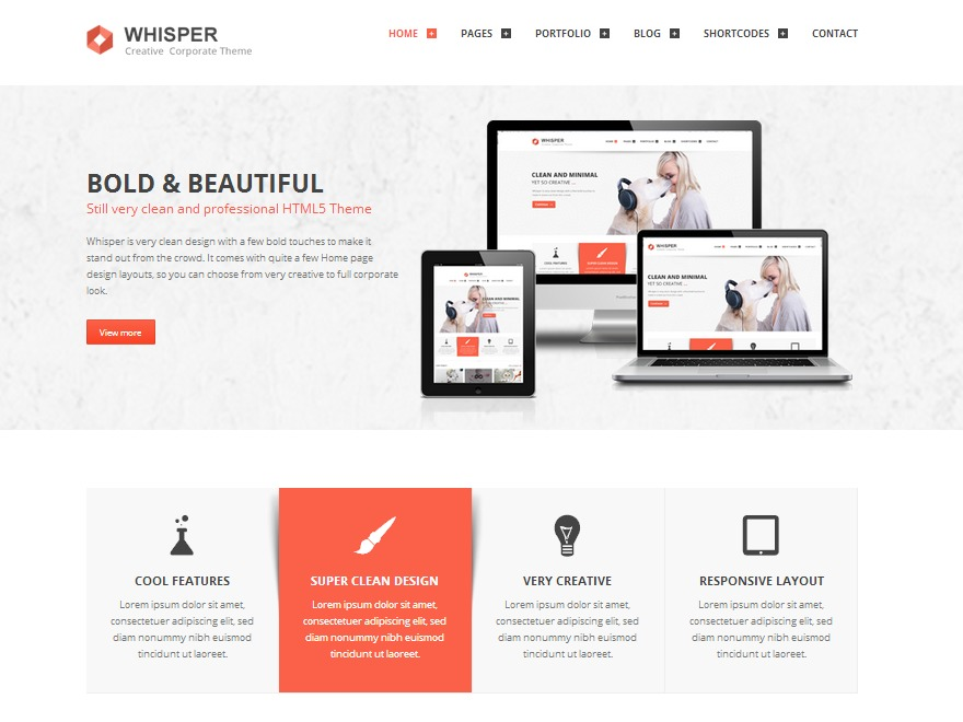 Whisper WordPress template