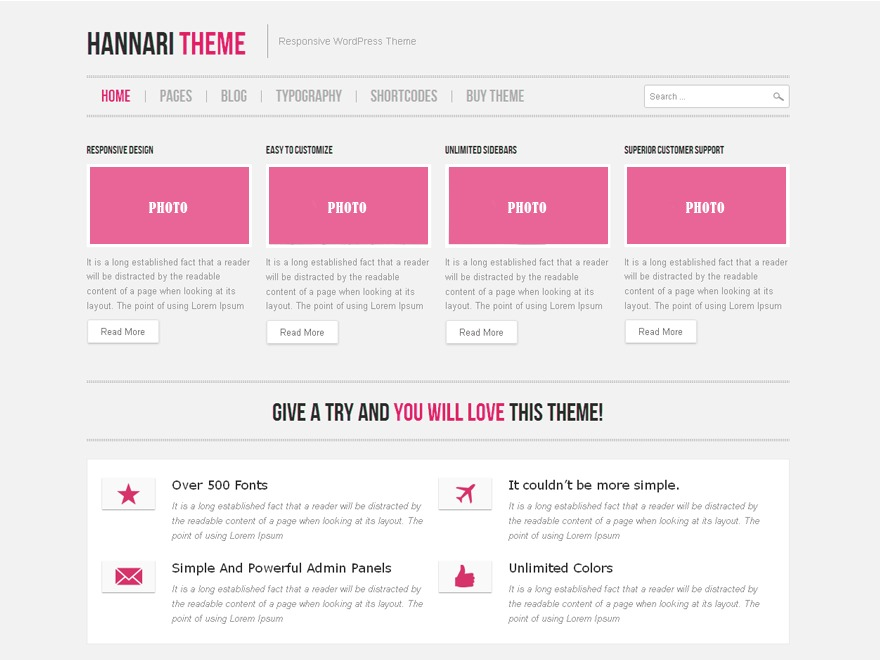 WordPress theme Hannari Pink