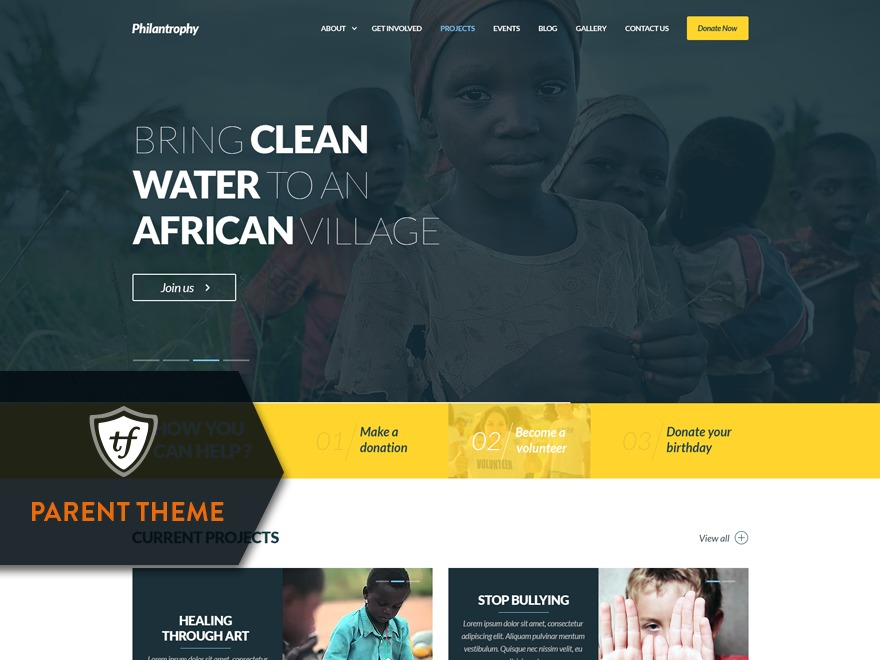 WordPress theme Philanthropy Parent