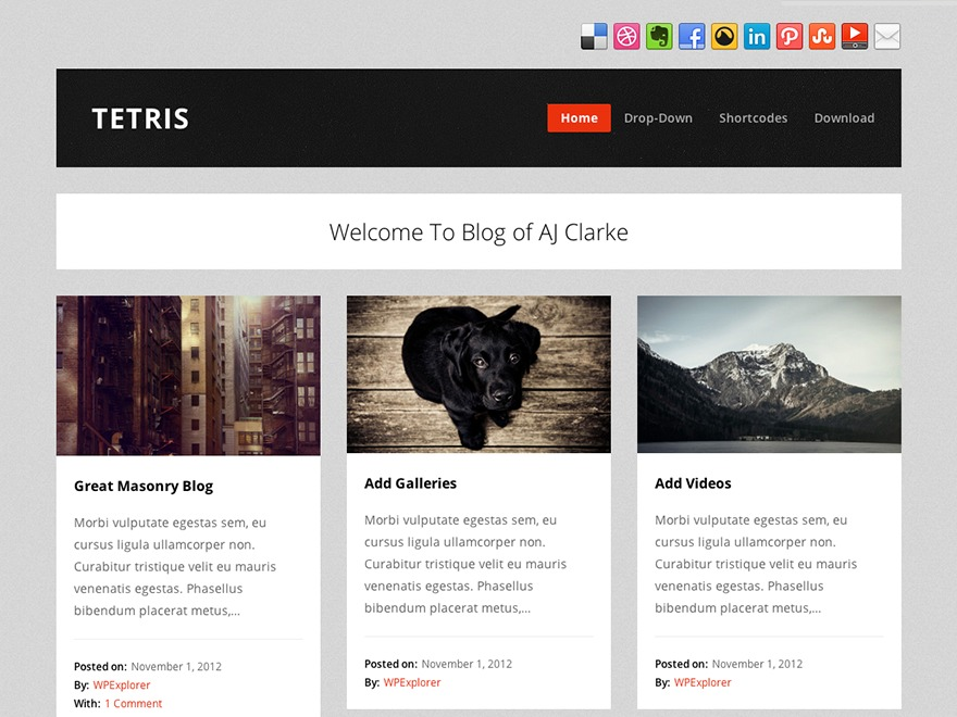 WordPress theme Tetris