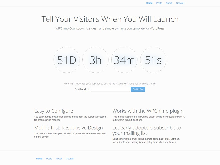WordPress theme WPChimp Countdown