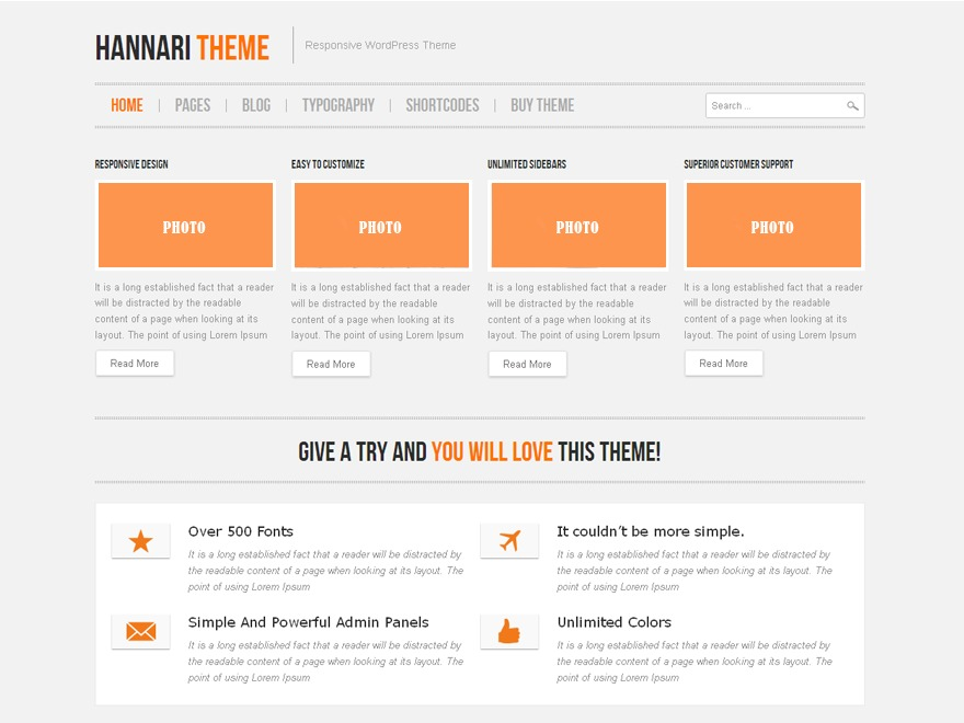 WordPress website template Hannari
