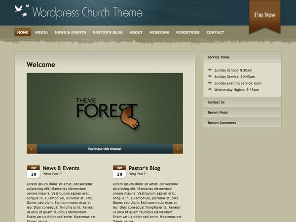 WP Church WordPress website template
