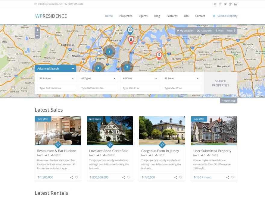 Wp Residence 1.091 real estate WordPress theme