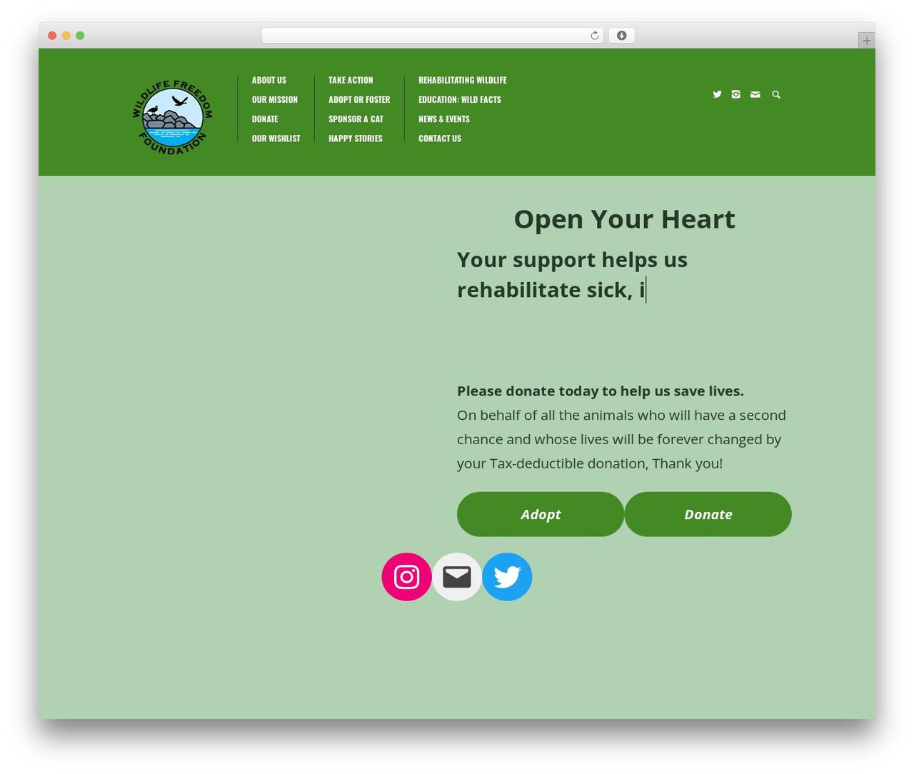 WP theme Biosphere - wildlifefreedomfoundation.org