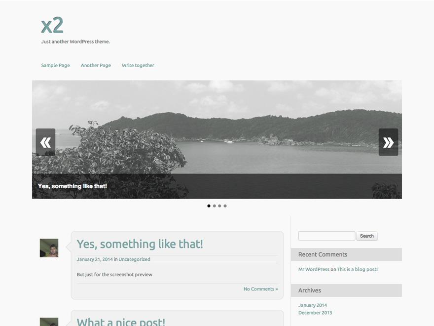 x2 WordPress ecommerce template