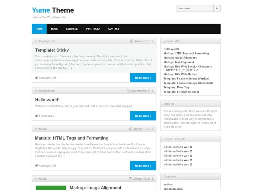 Yume WordPress blog theme