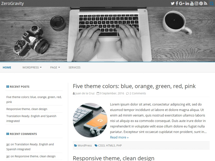ZeroGravity free WP theme