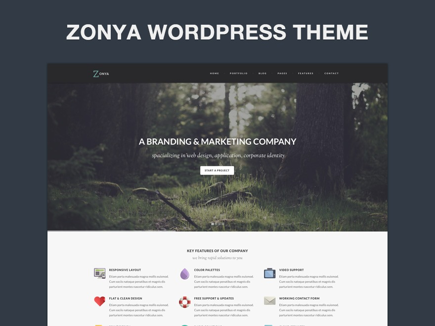 Zonya Child WordPress page template