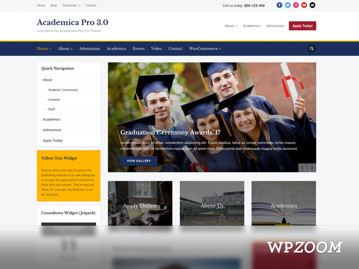 Academica Pro 3.0 company WordPress theme