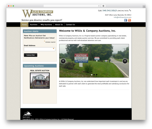 Auction Company Template business WordPress theme - willisauctions.com