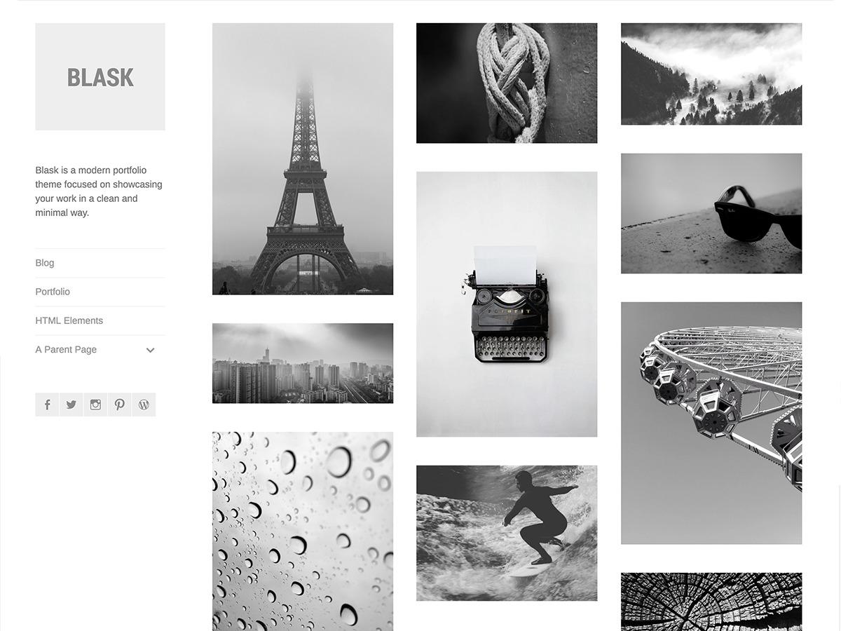 Blask personal blog WordPress theme