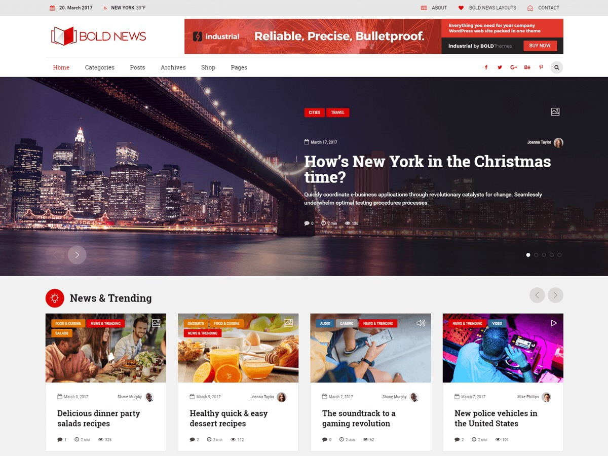 Bold News WordPress magazine theme