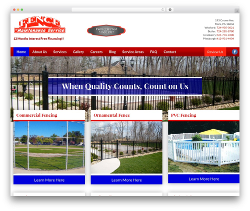 Fence FMS WordPress template for business - fencebyfms.com