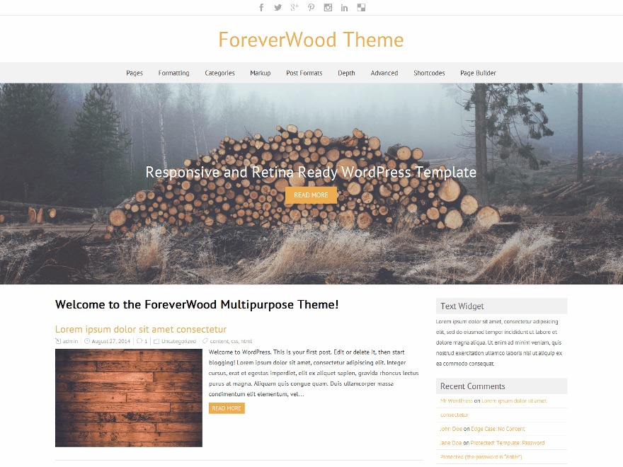 ForeverWood Premium WordPress ecommerce template