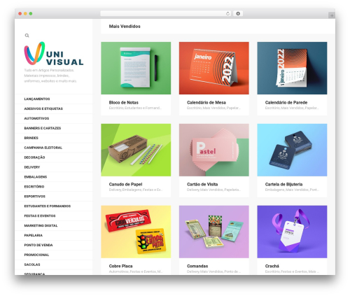 Helium WordPress theme - univisual.com.br