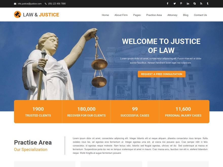 Justice business WordPress theme