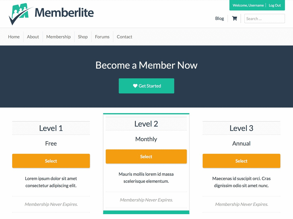 Memberlite WordPress theme