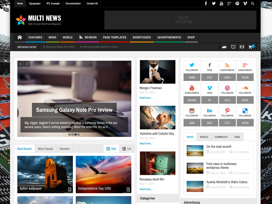 Multi News (shared on wplocker.com) best WordPress magazine theme