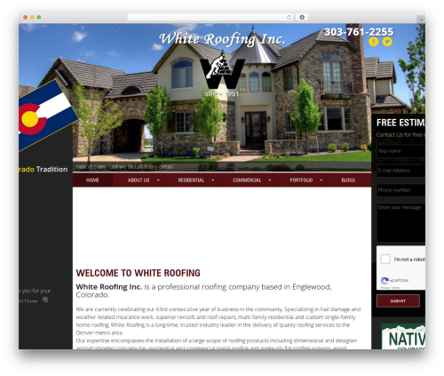 Roofing company WordPress theme - whiteroofingcolorado.com