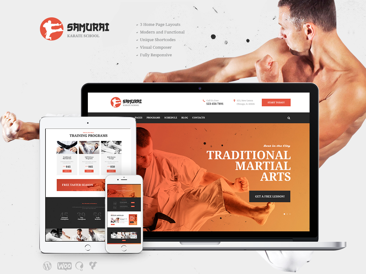Samurai School WordPress blog template