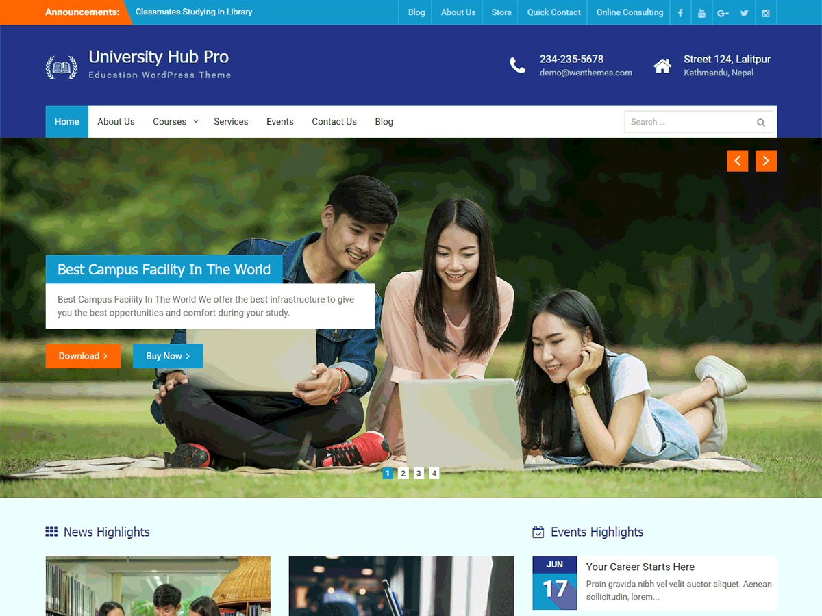 University Hub Pro WordPress template for business